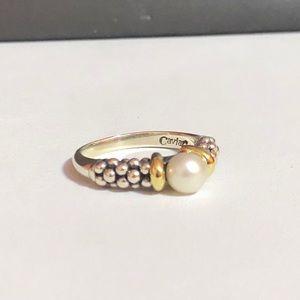 Lagos Caviar collection 18kYG & 925 pearl ring